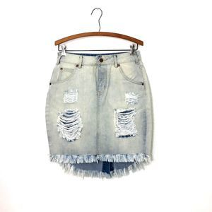 LIRX Light Denim Distressed Frayed Skirt
